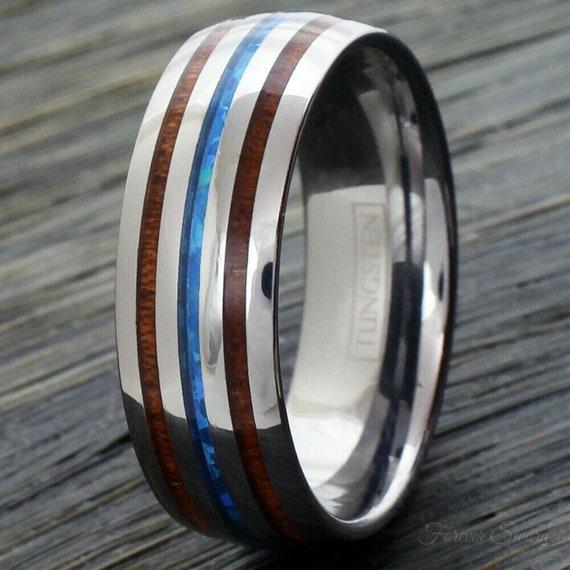 Blue Opal Koa Wood Silver Tungsten Ring | Men's Women's Wedding Band | 6mm 8mm Size 5-13 Comfort Fit | Hawaiian Personalized Engraving Gift