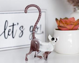 Handmade Hand Blown Art Glass Wild Animal Colored Glass Lemur Figurine 4.5