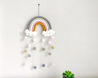 Rainbow Scandinavian Room Decor, Wall Hanging, Handmade Kids Room Decor, Nursery Decor, Macrame Rainbow