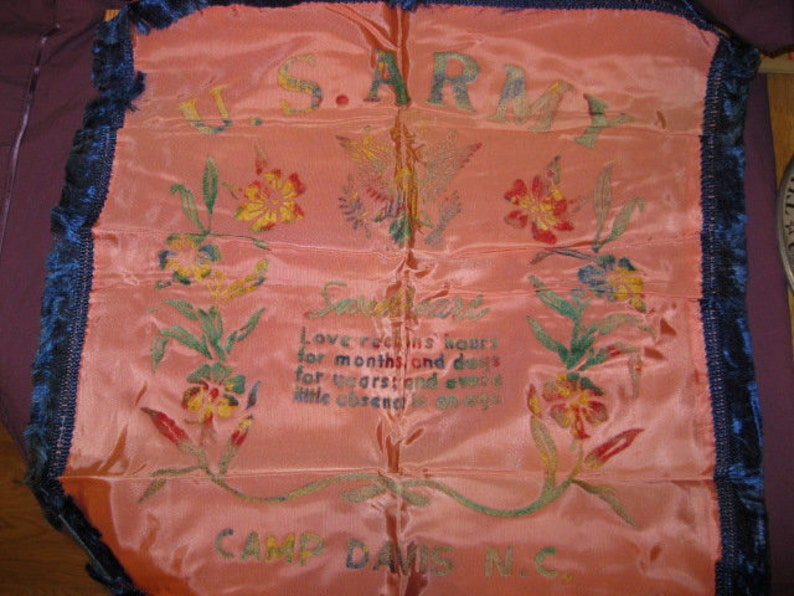 sweetheart pillow cover Army NC Camp Davis WW2