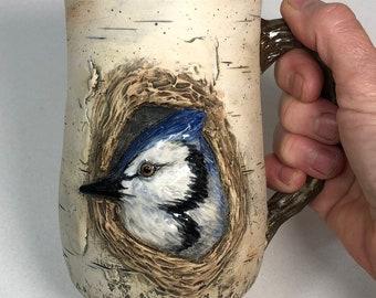 20 oz Stoneware Birch Bark Blue Jay Mug