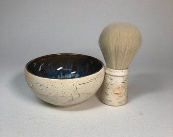 Wet Shave Birch Bark Stoneware Brush & Bowl Set, Unisex
