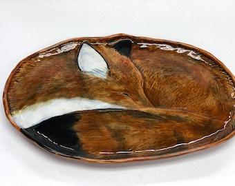 "15 1/2"" Red Fox Platter, Hand Built, Carved, Ceramic, Stoneware, Glazed"