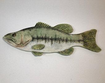 """20 1/2"""" Large Mouth Bass Fish Stoneware Platter"""
