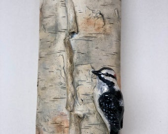 Stoneware Pottery Wall Sconce, Planter, Looks Like Birch Bark Woodpecker