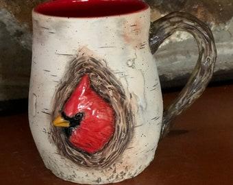 21oz Stoneware Birch Bark Cardinal Mug
