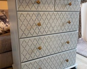 Beautiful Moroccan Bee Knob Blue Chest of Drawers