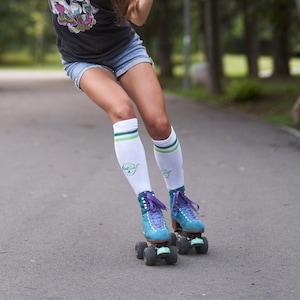 Checkered Knee High Socks Neon Roller Derby Socks Skate Party Fun Socks Glow Party Gift Socks Birthday Gift Tween Girl Leggings Orange
