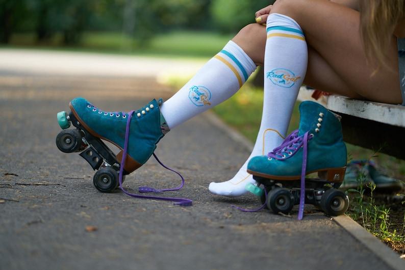 Roller Skate Socks Athletic Socks Stripe Socks Knee High Socks Skate Clothing Roller Skate Apparel Women/'s Sports Socks Skate Socks