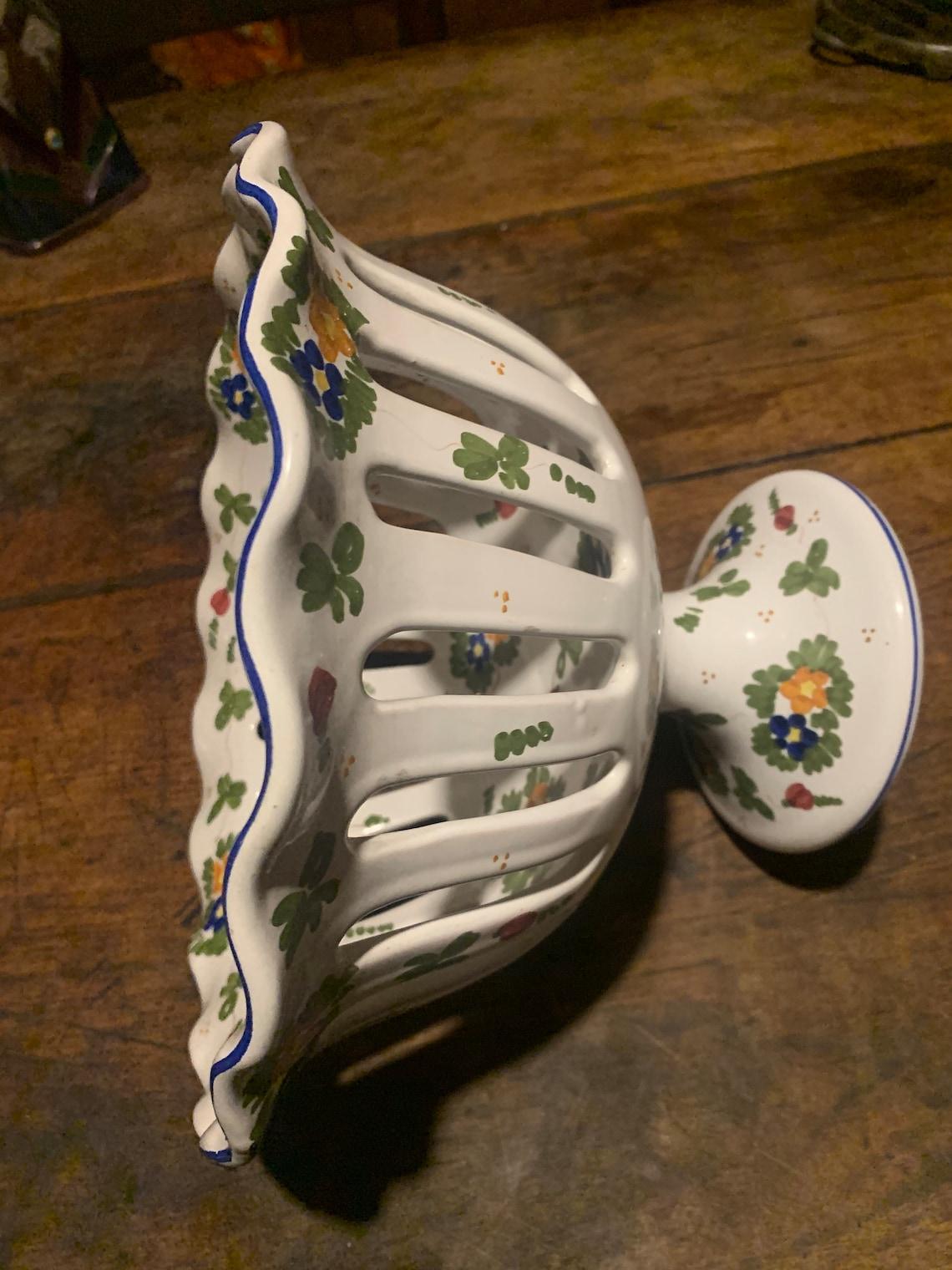 Alzatina traforata vintage ceramica Marchegiani Castelli ...