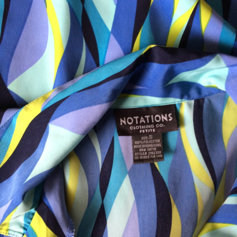 Vintage 90s neon day glow blue and green pattered shirt by NOTIONS Clothing Co.