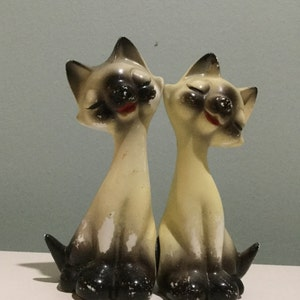 Beige Csts with Green and Peach Dots and Black Eyes Cat Salt and Pepper Shaker Set