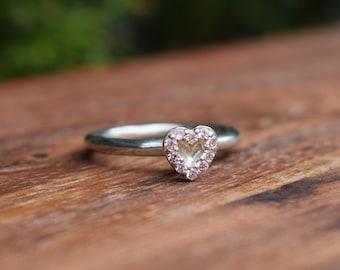 960d6da37 Beautiful Authentic Pandora Rare Heart Halo Pink CZ Crystals Love Design Stacking  Ring