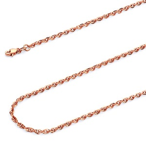 14K Rose Gold Rolo Chaîne 2 mm large Texturé Link Lobster Claw Fermoir 16-26 in environ 66.04 cm