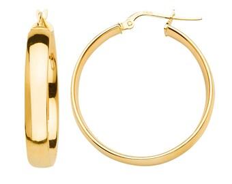 27mm X 27mm 14k White Gold Basic Hollow Hoop Earrings,