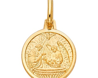 14k Yellow Gold Religious Baptism Medal Charm Pendant