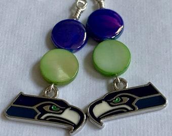 Blue And Green X1584 12 Seahawk Earrings Football Jewelry Fused Glass Earrings Football Earrings 12th Man Seattle Seahawks