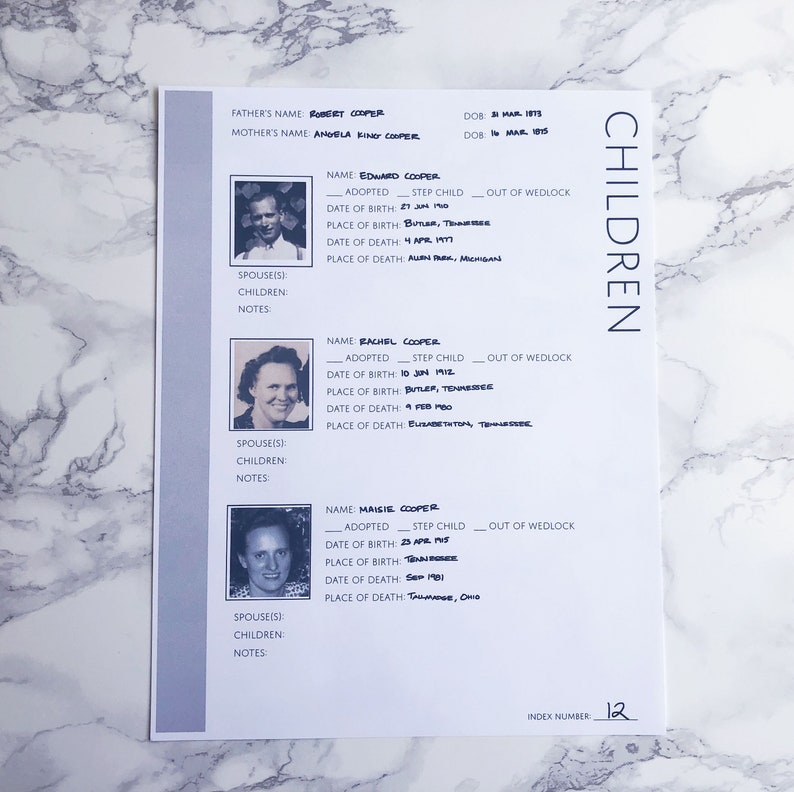 Family Tree Children Page: Printable Genealogy Form for Family History  Binder (Digital Download)