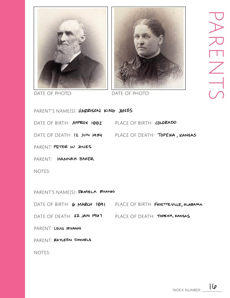 Core 50 Page Family History Bundle Pink Digital Download - Family Tree Notebooks