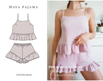 Pajama set pattern - Instant download A4 PDF sewing pattern XS-XL sizes | eu 34-44 | us 0-14 | au 6-16 | - Maya pajama set pattern