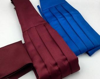 Pair Mens' Wedding Cummerbund - Burgundy with Hankie and Royal Blue, Fully Adjustable, Polyester, Retro Accessories, Formal Menswear