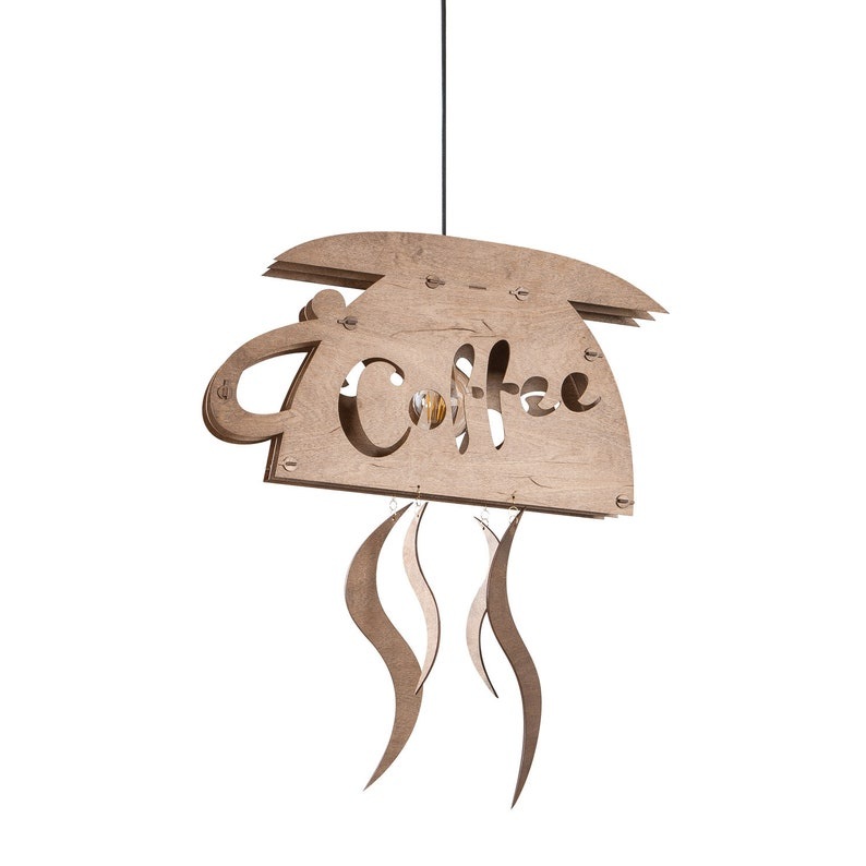 Wooden pendant lamp bar kitchen lighting coffee cup decor image 0