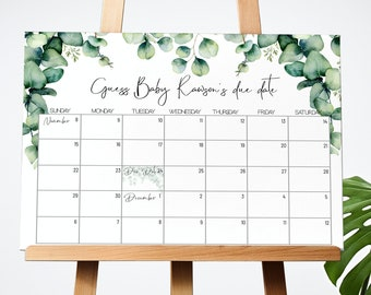 Guess Baby's Due Date Game Eucalyptus Baby Shower Game Sign Greenery Guess the Due Date Game Prediction Calendar Baby Girl Gender Neutral 59