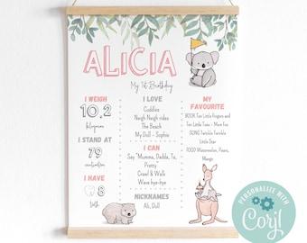 Kangaroo Wildlife invitation 1st birthday Koala Milestone Sign AP-2 Pink Australian Animals Milestone Board Milestone Poster