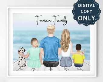 Gifts for her Family Print Toddler /& Pets Family Gift DIGITAL PRINT Personalised Family Print with Baby Customisable Family Print