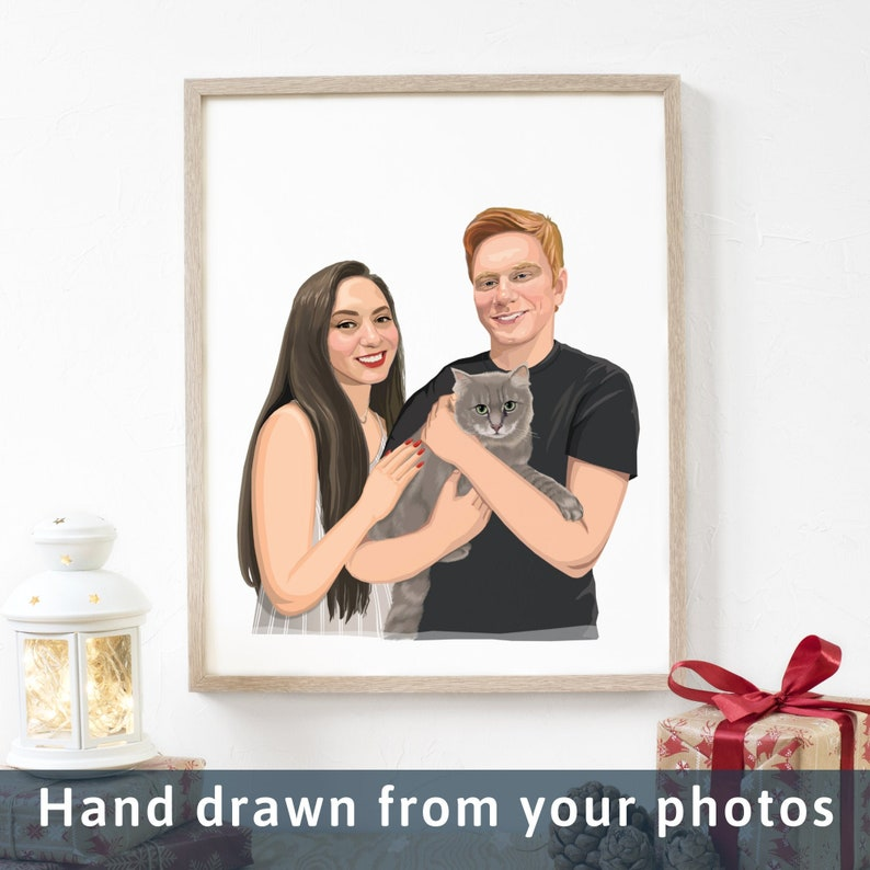 Personalised Portrait Wedding Gift Idea Birthday Gift Unique Christmas Gift Engagement Gift Anniversary Gift Couple Portrait