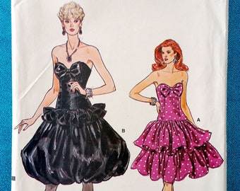 454d4beeb50 Vintage 1980s strapless cocktail or evening dress sewing pattern - Vogue  9893 - sizes 12-16 (34