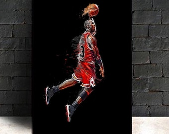 24f0bb473303 Abstract Art Painting Michael Jordan Poster Fly Dunk Basketball Wall  Pictures for Living Room Decoration Bedroom Sport Canvas(No Frame)