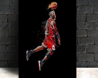 info for 277c0 2e65d Abstract Art Painting Michael Jordan Poster Fly Dunk Basketball Wall  Pictures for Living Room Decoration Bedroom Sport Canvas(No Frame)
