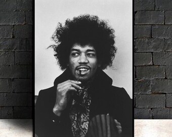 Jimi Hendrix Black and White Canvas Wall Art Picture Print 50x76cm