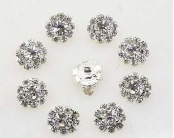 15 Mixed Clear Crystal//Rhinestone Silver//Gold Metal Buttons~Craft~Great Price!