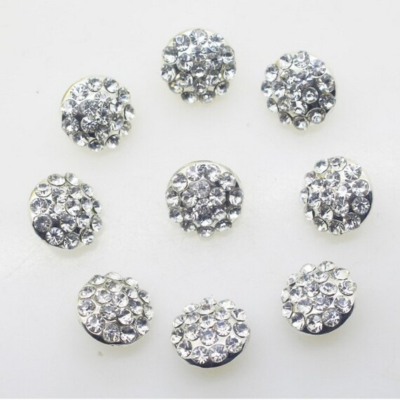 Acrylic Stone Buttons Silver Plated Back 27mm Clear Craft sew on button 10pcs