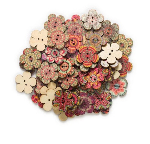 30pcs Indian Feather 2 Hole Wood buttons for Sewing Scrapbook Clothing Crafts