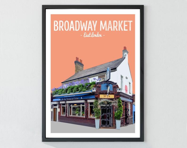The Dove Pub East London Print Broadway Market Hackney Poster Print