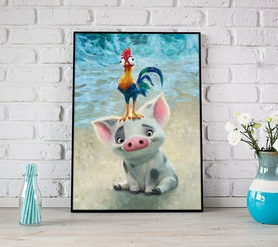 Pua And Heihei Moana Print Disney Wall Art Nursery Wall Decor Watercolor Princess Moana Poster Gift Ideas For Kids Kakamora Nursery Decor