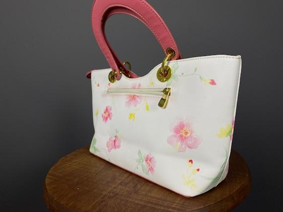 Vintage Christian Dior White Printed Shoulder Bag
