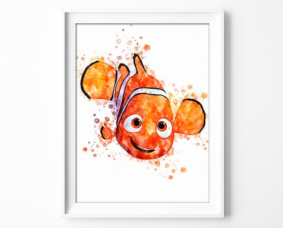 Nemo Poster Watercolor Finding Nemo Printable Wall Art Instant Download Finding Dory Poster Watercolor Baby Room Decor Birthday Party no.320