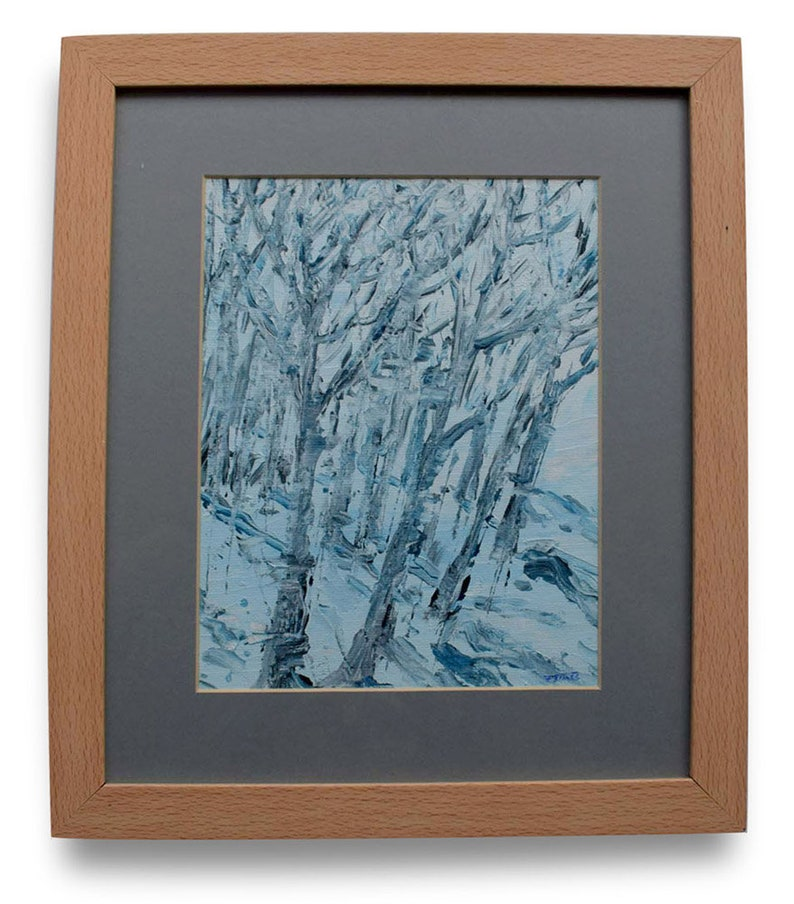 Snow Birch. Framed acrylic painting. Isle of Harris. image 0