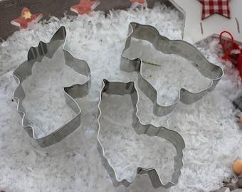 Cookie cutter set Unicorn - Cat - Alpaca in Organza - 100% Made in Germany