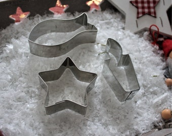 Cookie cutter set fish - candle - star 5 zack in organza - 100% Made in Germany