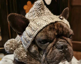 Pixie cap made of soft wool in earth tones with small bobbleheads, hand-knitted for medium-sized dogs/French bulldog/pug etc.