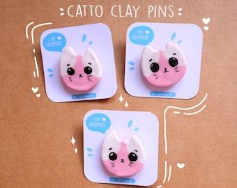 Handmade Catto Clay Pin