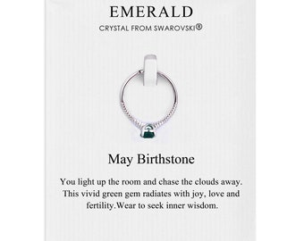 May (Emerald) Birthstone Ring Created with Swarovski® Crystals by Philip Jones