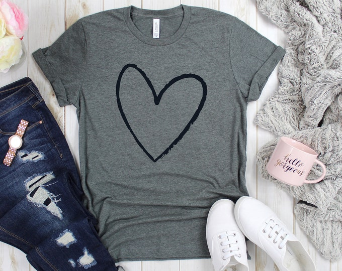 Featured listing image: Heart Drawing T-shirt | Love | Shirt for Mom | Valentines Shirt |Graphic Tees for Women | Love T Shirt | T Shirts for Women, Gift for mom