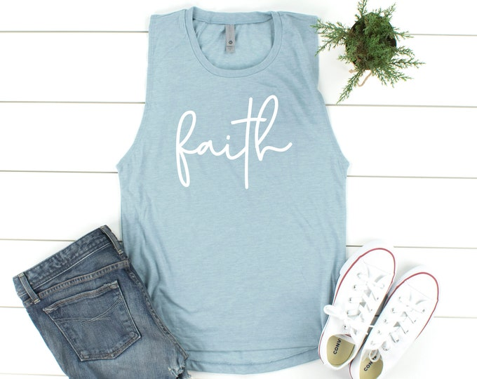 Featured listing image: Faith Tank Top | Saying T shirt | Christian Gift | Womens Gifts | Christian T Shirt | Christian Tee | Cross Shirt | Faith Cross Shirt