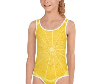 967728294edba Lemon Swimsuit, Little Girls One Piece Swimsuit, Girl Swimwear, Kids Bathing  Suit, Toddler Swimsuit Gift, Lemon Fruit Swimwear